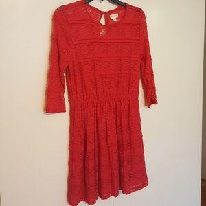 Maison Jules Red Floral Lace Dress